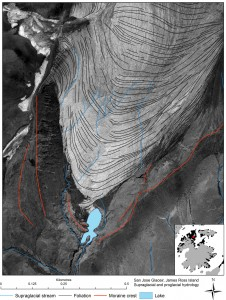 Supraglacial streams on San Jose Glacier with a small proglacial lake, James Ross Island.