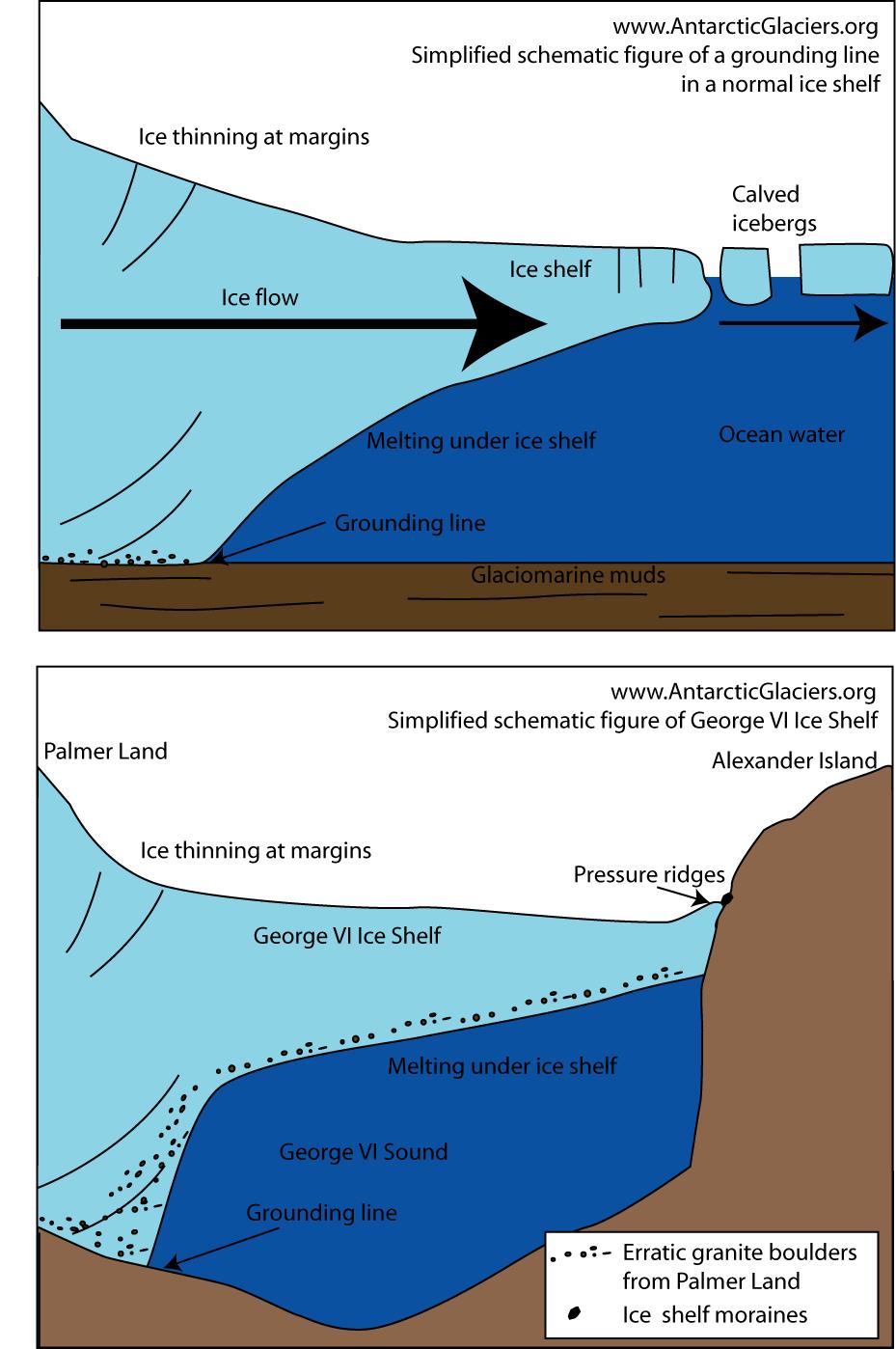 George vi ice shelf antarcticglaciers simplified schematic figure of an ordinary ice shelf such as the larsen ice shelf pooptronica