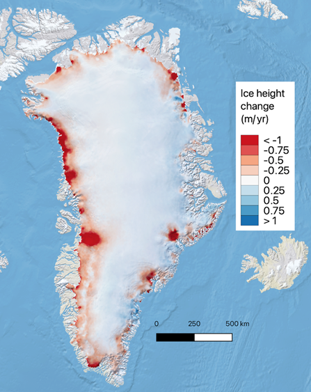 Ice height change, Greenland Ice Sheet